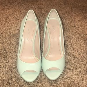 Mint Peep toe heels